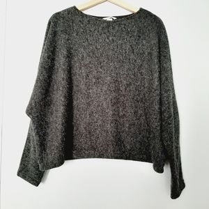 H&M Boxy Oversized Crop Pullover Sweater Gray L